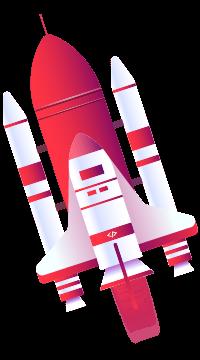 Illustration einer Rakete im Weltraum